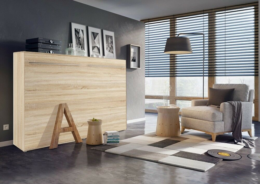 modern horizontal wall hidden fold away pull out double. Black Bedroom Furniture Sets. Home Design Ideas