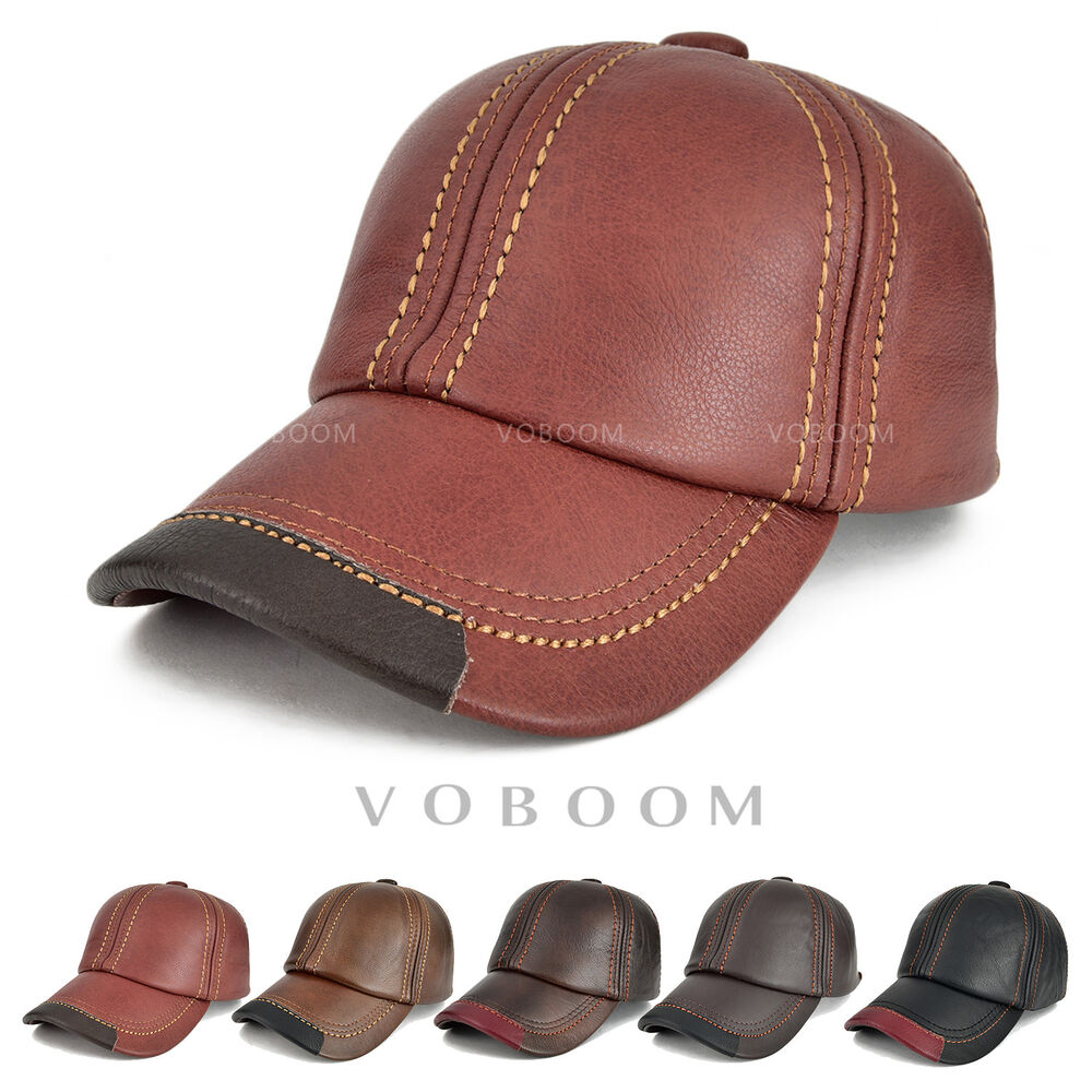8e1ae95cb0d Details about 100% First Layer Cowhide Leather Baseball Cap Men s Trucker Hat  Winter Hat Warm