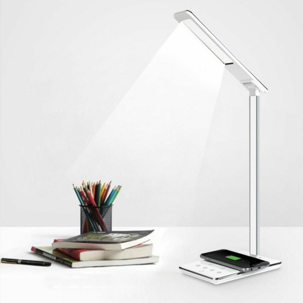 led lampe mit ladefunktion usb ladeger t qi wireless ladestation kabellos laden ebay. Black Bedroom Furniture Sets. Home Design Ideas