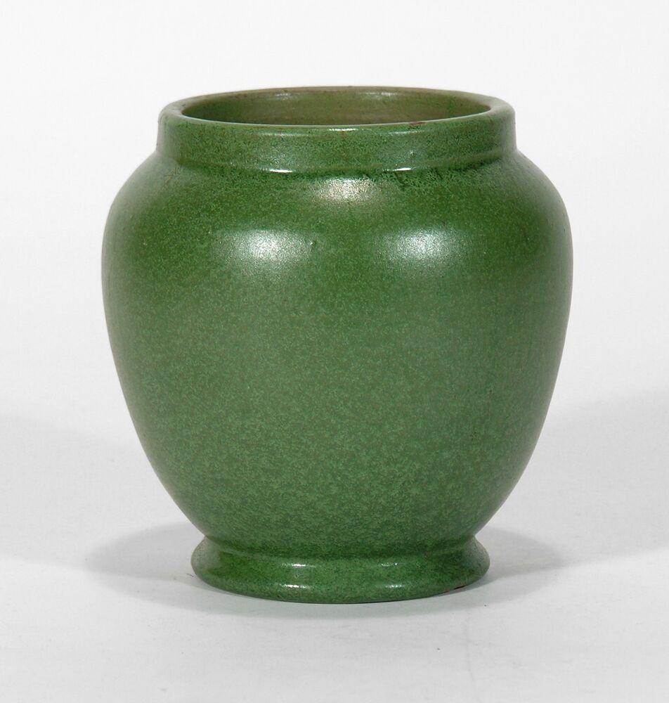 William j walley hand thrown art pottery vase matte green for Arts and crafts pottery