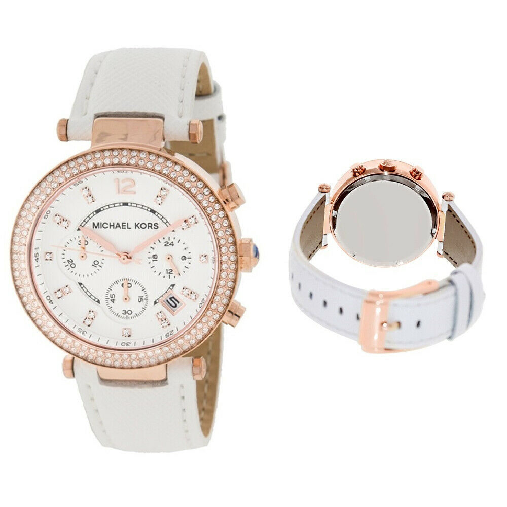 14f2f95b8457 Details about New MICHAEL KORS MK2281 White Leather Rose Gold Parker  Chronograph Ladies Watch