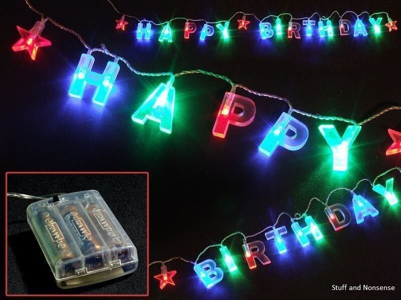 Details About Happy Birthday Lights LED String Fun Present Party Decoration Sign Gift Novelty