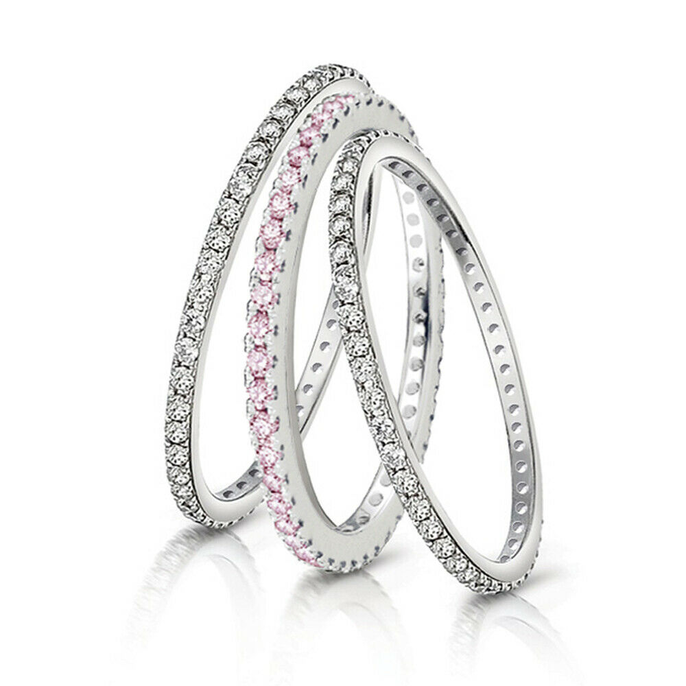 Eternity 925 Sterling Silver Stackable Wedding Ring Womens