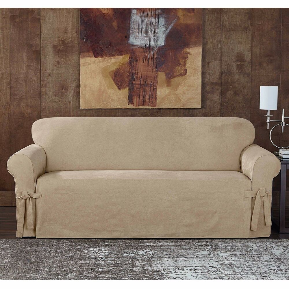 Sueded Suede Twill Slipcover By Sure Fit Sofa Taupe Slip