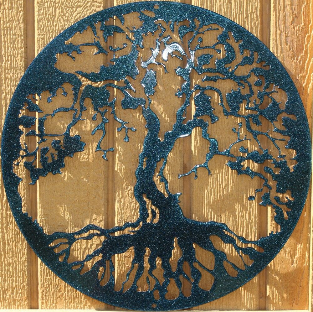 Tree of life metal wall art home decor chameleon teal ebay for Art for house decoration