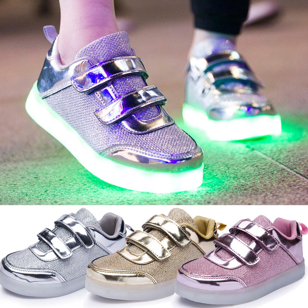 kinder led glow blinkschuhe usb aufladene licht schuhe kinderschuhe sneakers nue ebay. Black Bedroom Furniture Sets. Home Design Ideas