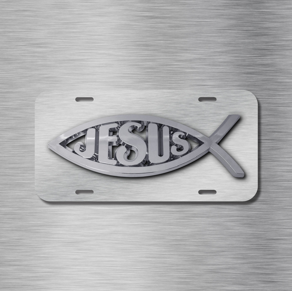 Aluminum License Plate Frame >> Jesus Vehicle Front License Plate Auto Car NEW Tag Fish Christian NEW | eBay