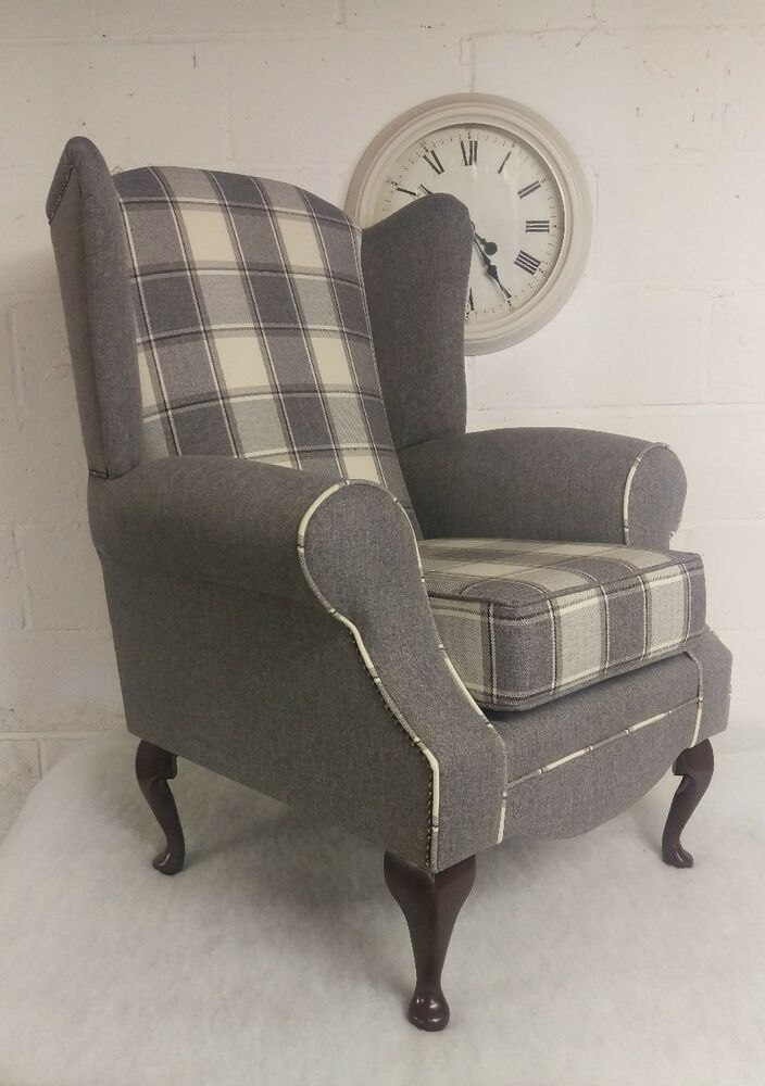 Wing Back Queen Anne Chair Cream Grey Check Plain Free Delivery Main Uk