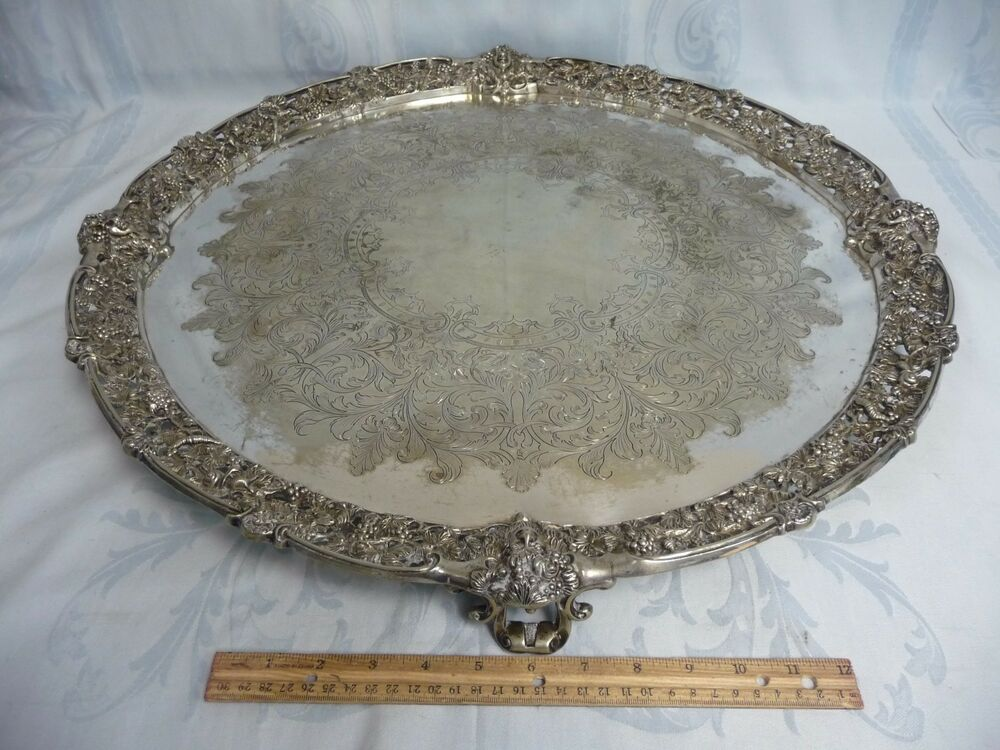 "MAGNIFICENT ANTIQUE 24"" SHEFFIELD ENGLAND ORNATE FOOTED ..."