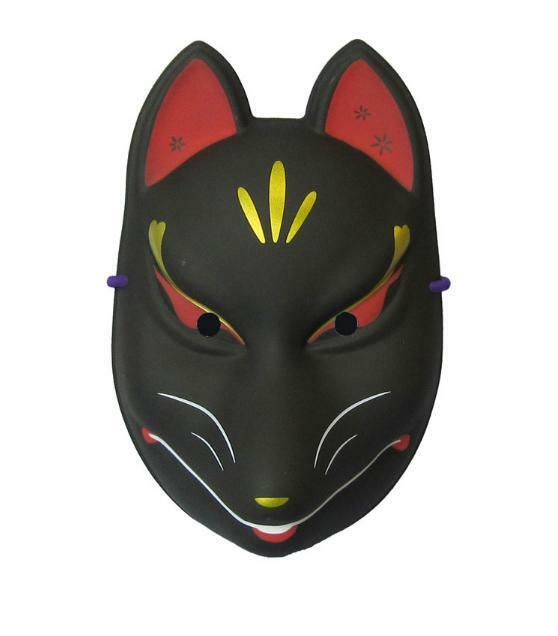 10pcs japanese traditional face mask kitsune omen black for Kabuki mask template