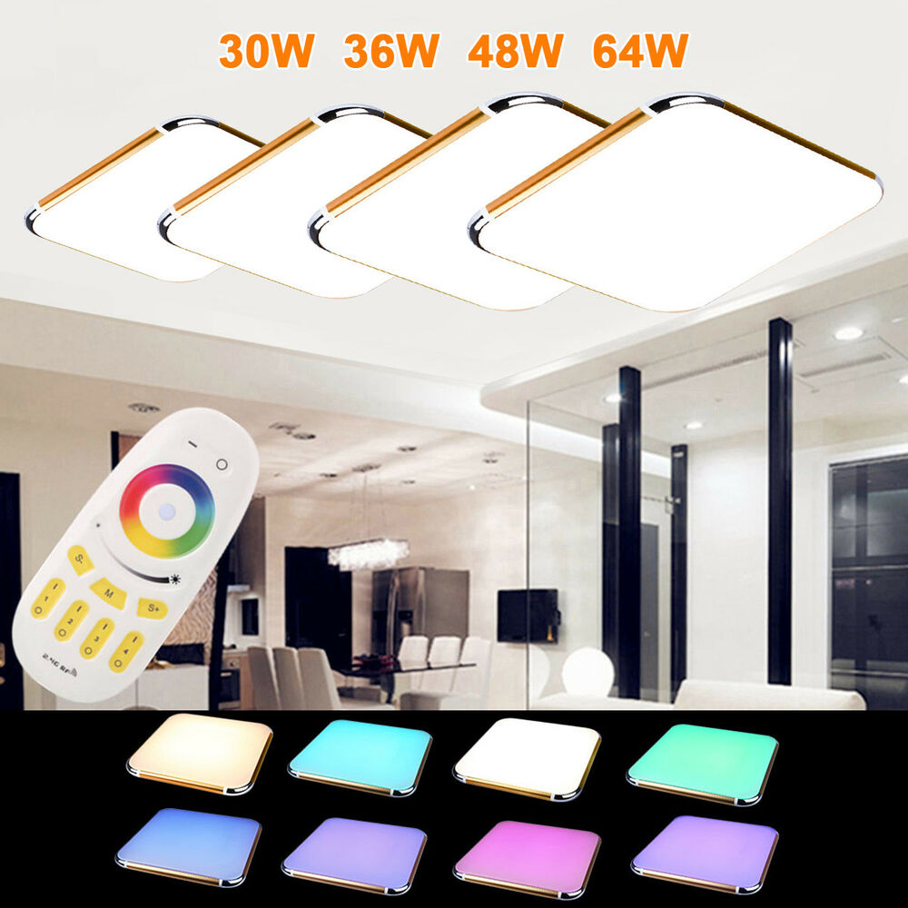 floureon rgb led deckenlampe deckenleuchte wohnzimmer flur fernbedienung gold ebay. Black Bedroom Furniture Sets. Home Design Ideas