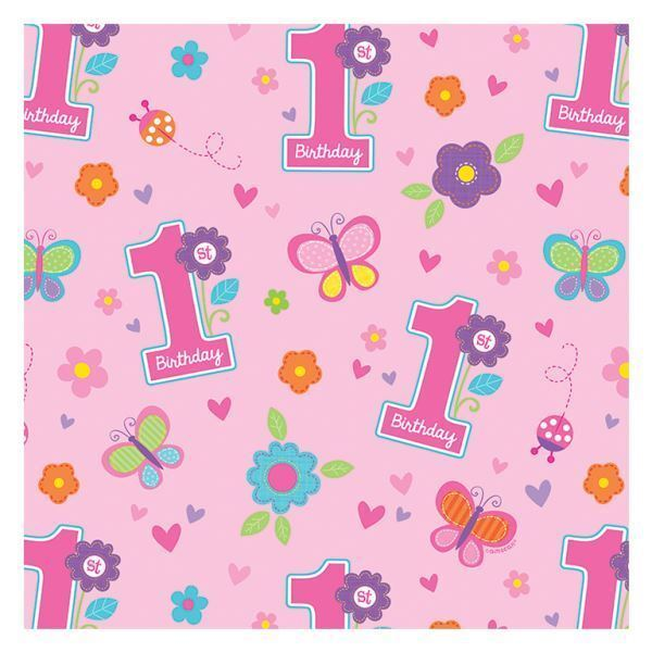 Details About Sweet Birthday Girl Gift Wrap Paper Rolls Baby 1st Party