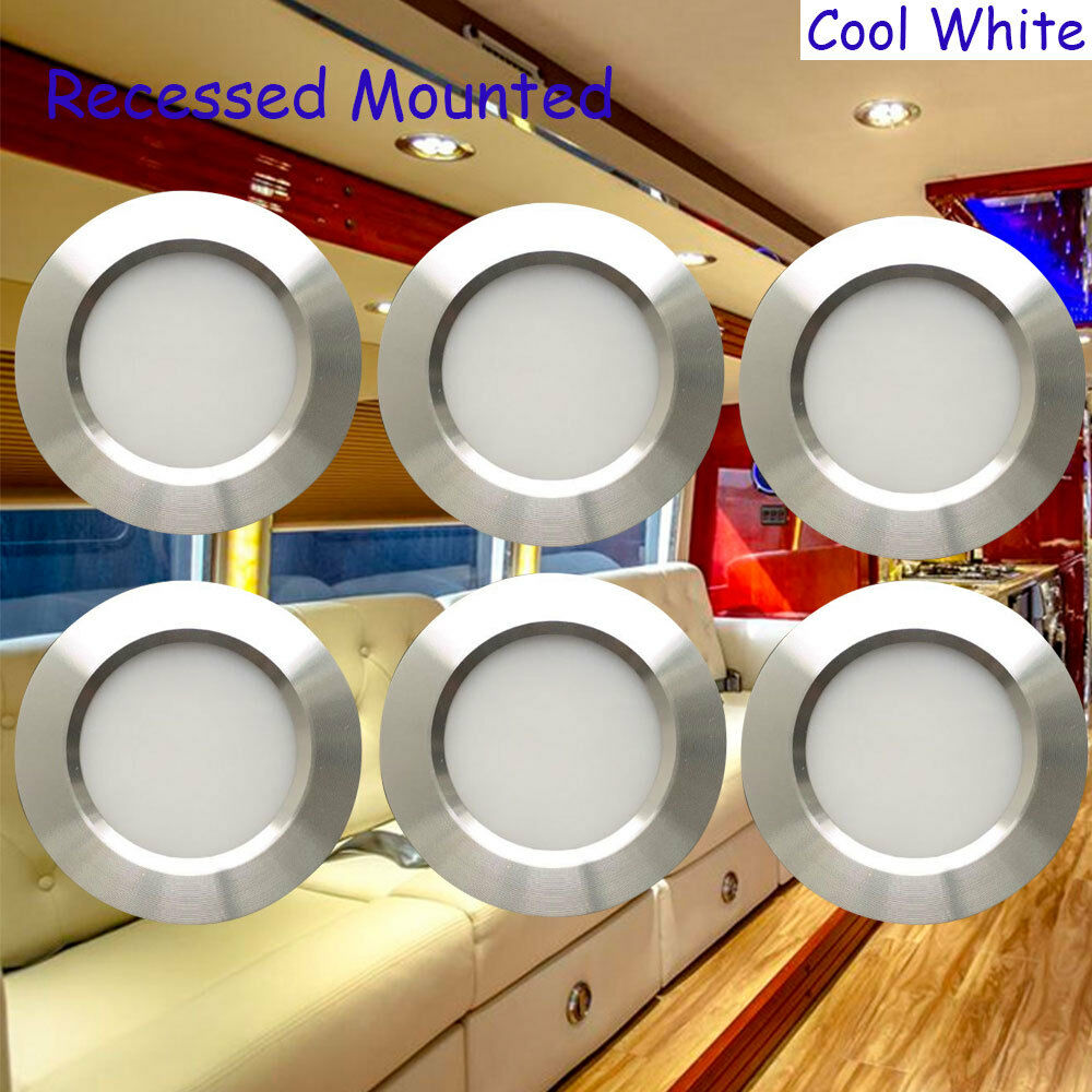 12 Volt 3w Interior Rv Marine Led Recessed Ceiling Lights Cool White 6pcs Silver 606220095736 Ebay