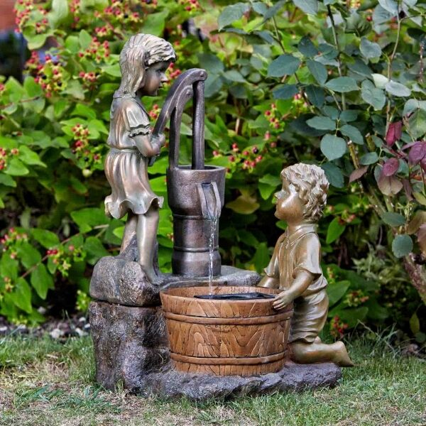 solar powered water pump cascade fountain outdoor water feature ebay. Black Bedroom Furniture Sets. Home Design Ideas