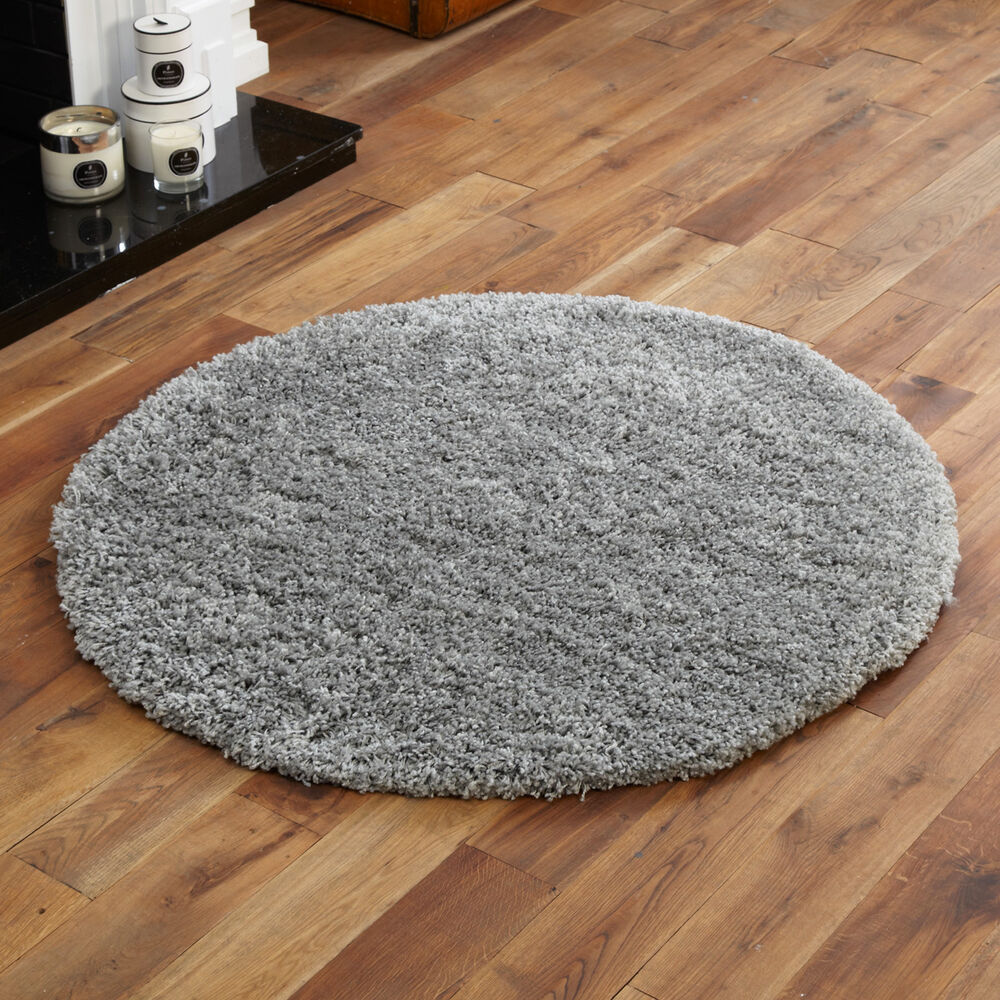 Shaggy Circle Round Rug Soft Large 133cm Silver Grey New