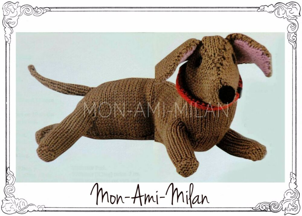 Knitting Patterns For Sausage Dogs : Knitting Pattern CUTE DACHSHUND SAUSAGE DOG SOFT TOY KNITTED PET 15?
