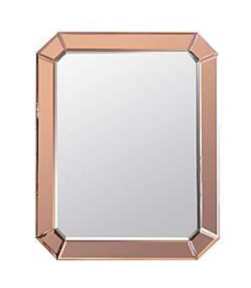 Art Deco Style Large Bevelled Cut Rose Gold Rectangle