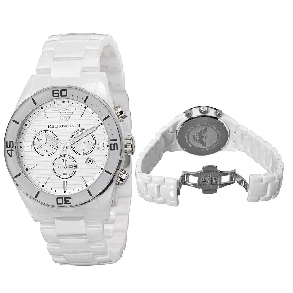 3be9b11005f0a Details about New In Box Emporio Armani AR1424 43mm White Ceramic  Chronograph Mens Gents Watch