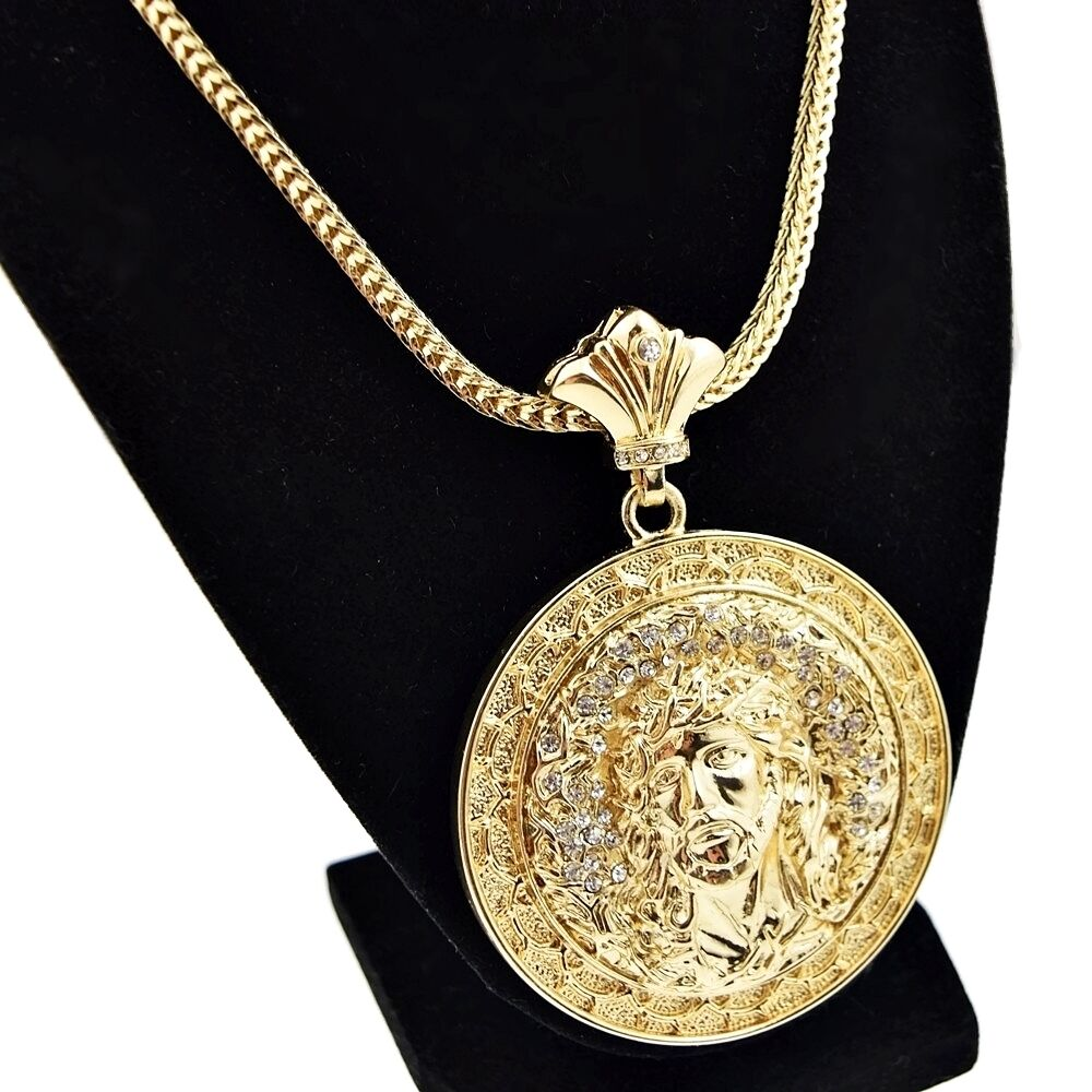 Jesus Medallion Chain Iced-Out Round Pendant Gold Finish ...