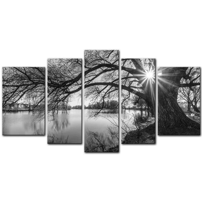 Large Framed Wall Art New York City Landscape Sunset: Wall Art Canvas Prints Picture Black And White Tree