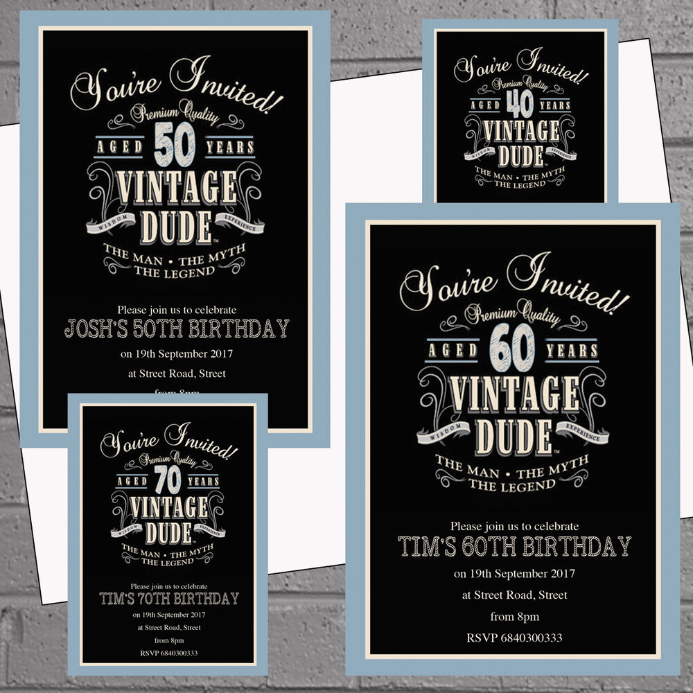 Details About 100 X Mens Birthday Party Invites 30th 40th 50th 60th 70th Vintage Dude H1560