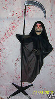 Floating Reaper Halloween Prop decoration Light Up Face Skull Posable Arms NEW