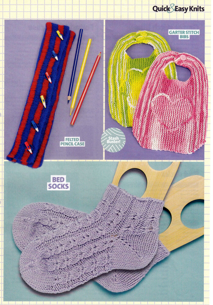 Knitting Pattern Baby Bib Bed Socks Felted Pencil Case Quick Easy