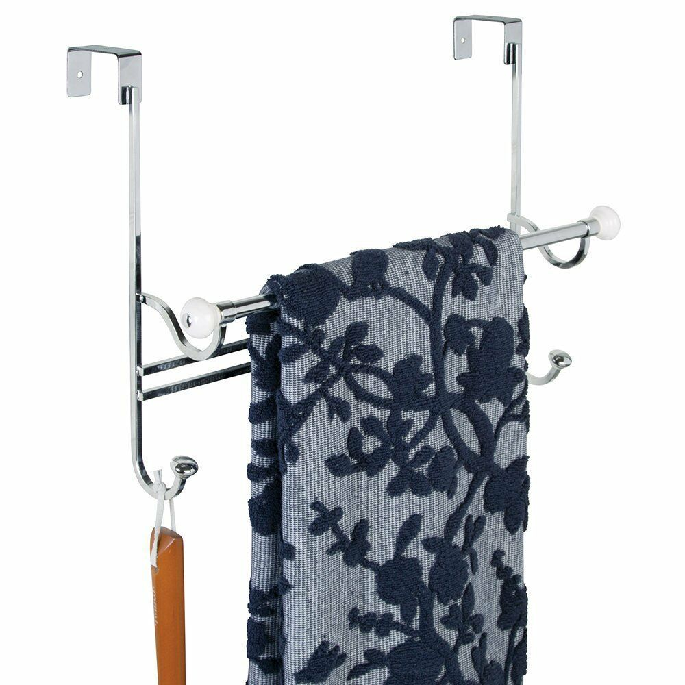 Over The Door Towel Rack Bathroom: Bathroom Over Shower Door Towel Bar Rack With Hooks