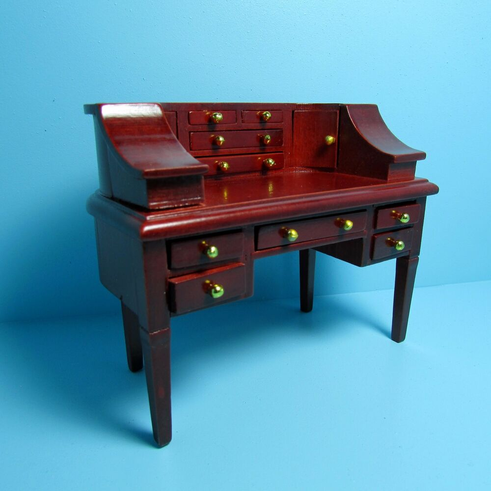 dollhouse miniature carlton office desk with lots of drawers in mahogany d0675 ebay. Black Bedroom Furniture Sets. Home Design Ideas