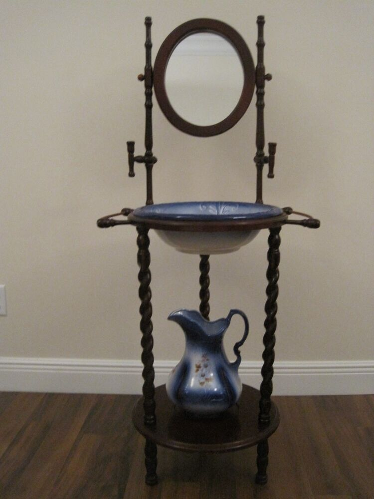 Antique Wooden Wash Basin Stand With Mirror Amp Athena Usa