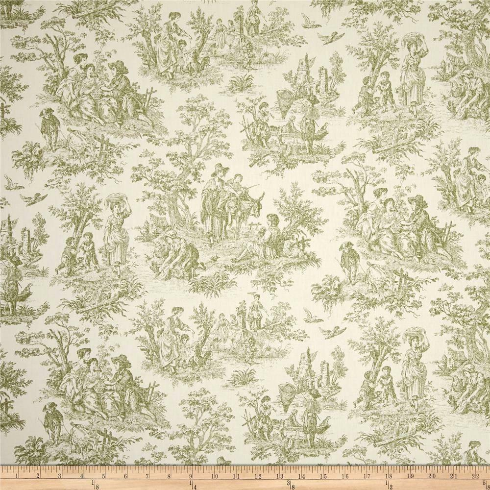 toile in sage green on cream cotton upholstery fabric by the yard 54 w pastoral ebay. Black Bedroom Furniture Sets. Home Design Ideas