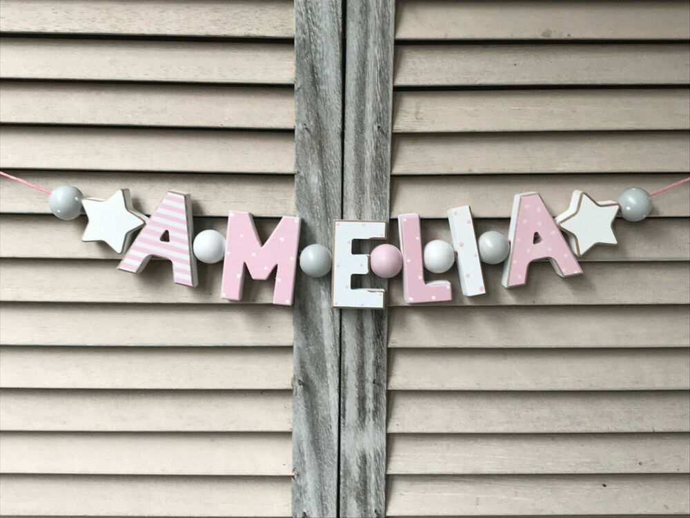 Amelia wooden letters baby shower nursery decor for Baby name letters decoration