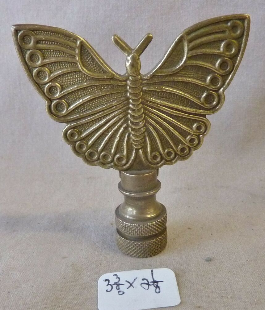"""Lamp Finial Asian Butterfly OLD PATINA Solid Cast Brass 3 3/8"""" H X 2 1/8""""w"""