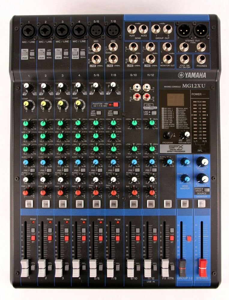 Yamaha mg12xu 12 channel analog mixer sound board mixing for Yamaha mixing boards