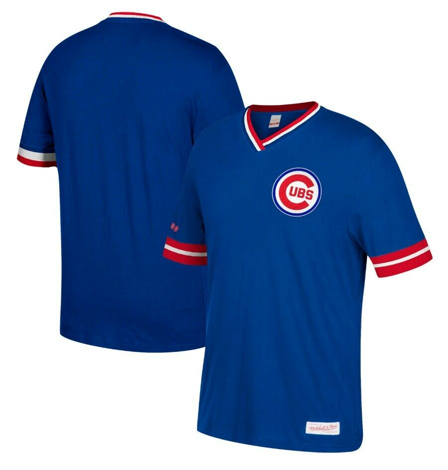 e1a5c298b Mitchell & Ness Chicago Cubs Royal Blue Overtime Win Vintage V-Neck T Shirt  MLB