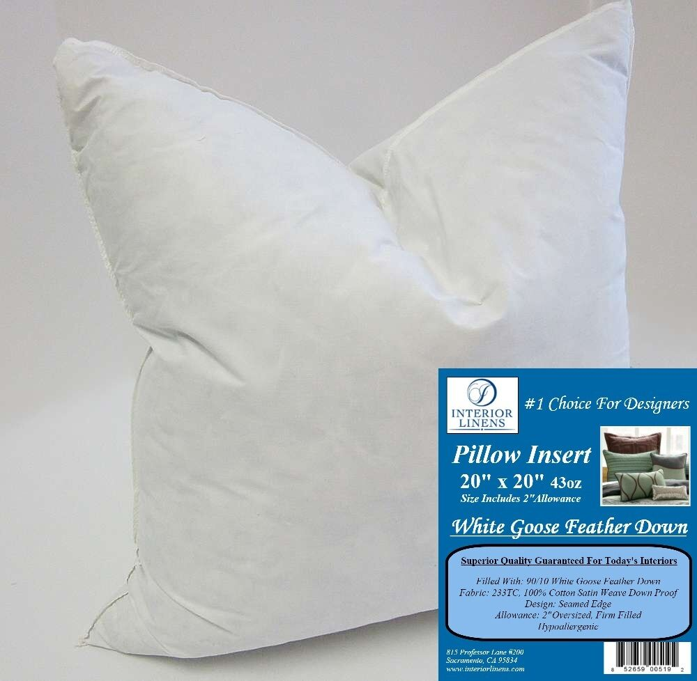 20 Quot Pillow Insert White Goose Down 2 Quot Oversized Amp Firm