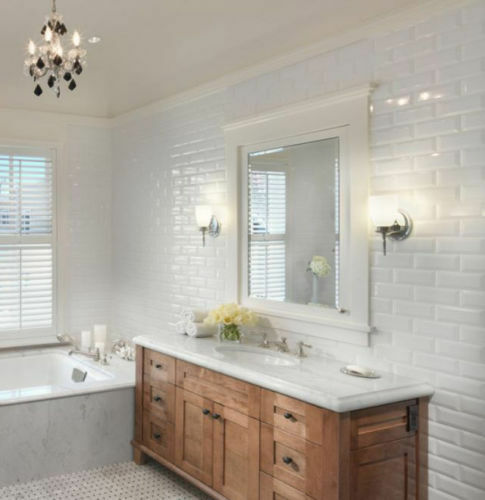 brick wall tiles bathroom gloss white large xl bevelled metro brick kitchen bathroom 17511