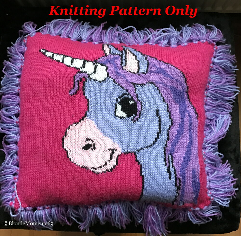 Knitting Pillow Pattern : Cute unicorn cushion pillow knitting pattern intarsia