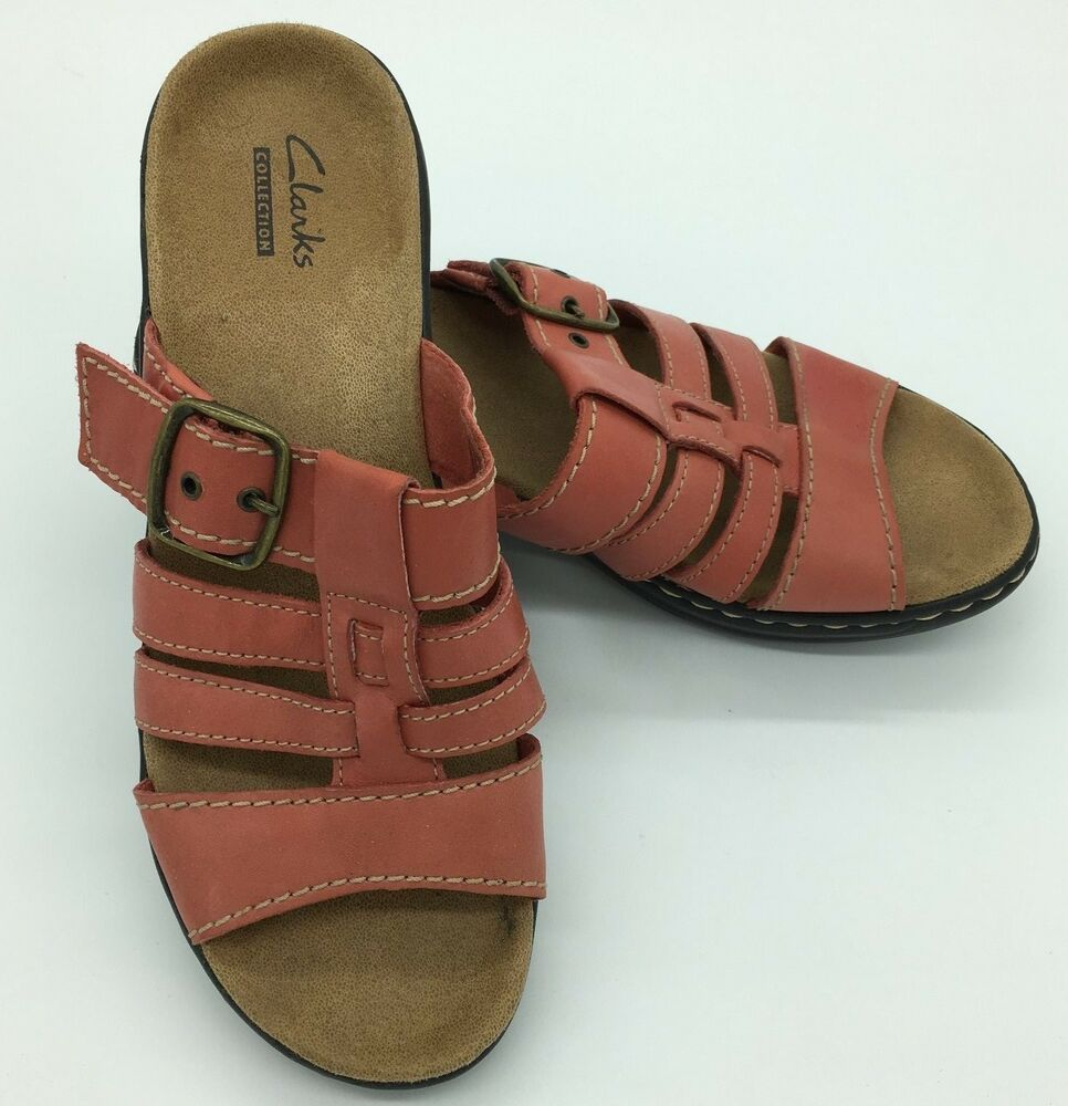 7eae6213cab CLARKS Women s Orange Leather Strappy Buckle Slide Sandals Size 7.5 Style  16724