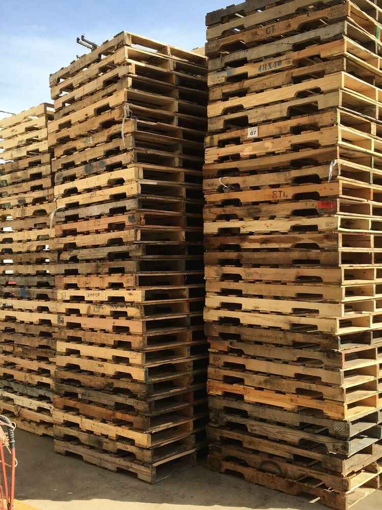 """Used Recycled Wood (B) Pallets-48"""" x 40"""" 4-Way Pallets ($6 ..."""