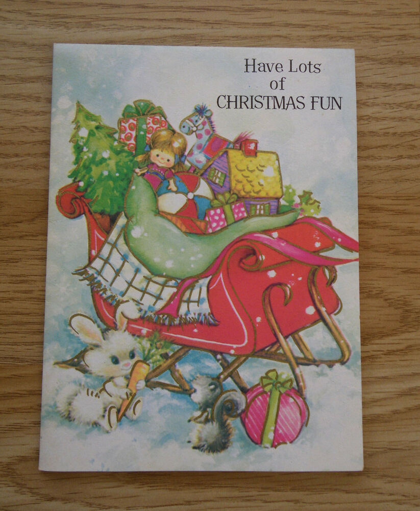 Christmas Toys Cards : Vintage paper sleigh with toys christmas card s