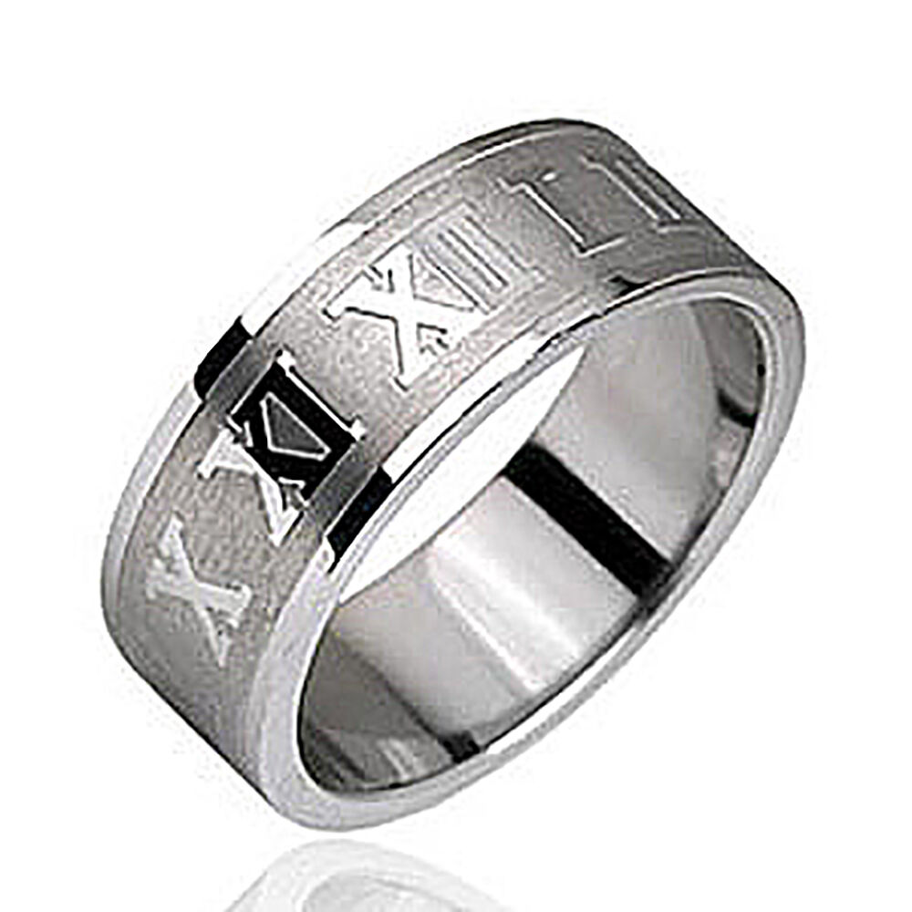 Stainless Steel Men S Roman Numeral 8 Mm Fashion Wedding