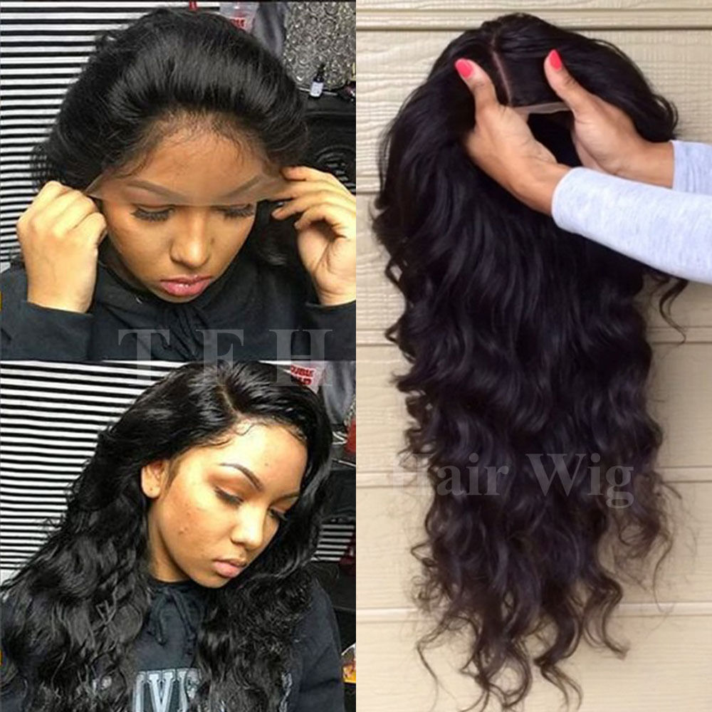 100 Malaysian Human Hair Lace Front Wig Glueless 360 Full