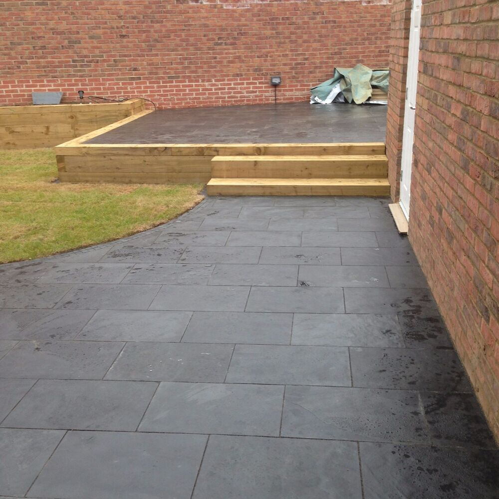 Natural black slate paving garden patio slabs 5m2 for Garden decking and slabs
