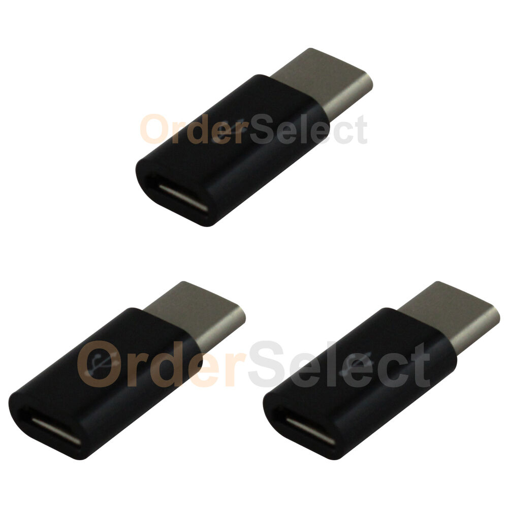3 micro usb to usb type c converter charger adapter for android cell phone ebay. Black Bedroom Furniture Sets. Home Design Ideas