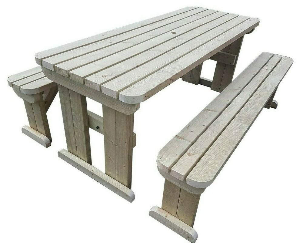 Aspen Rounded Wooden Picnic Table And Bench Set Outdoor