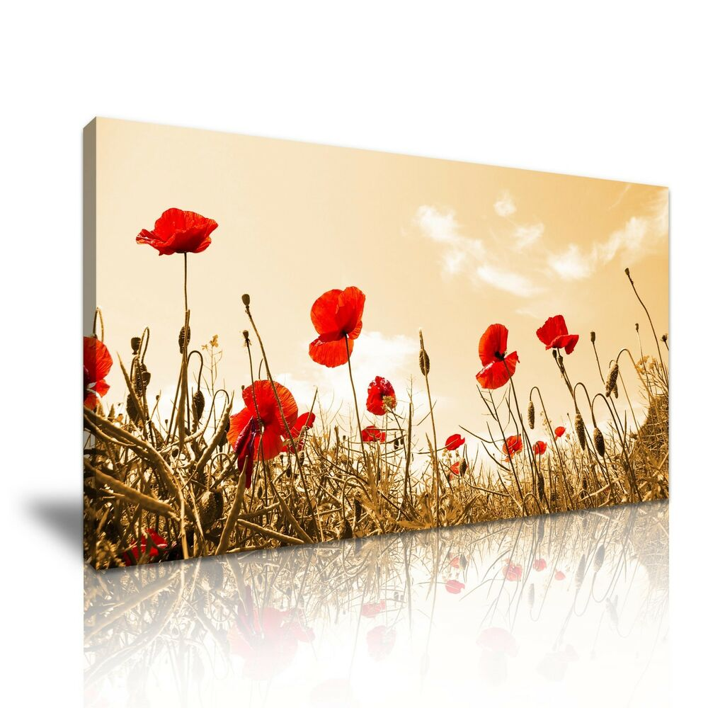 Red poppy flower canvas wall art picture print 60x30cm ebay for Red wall art