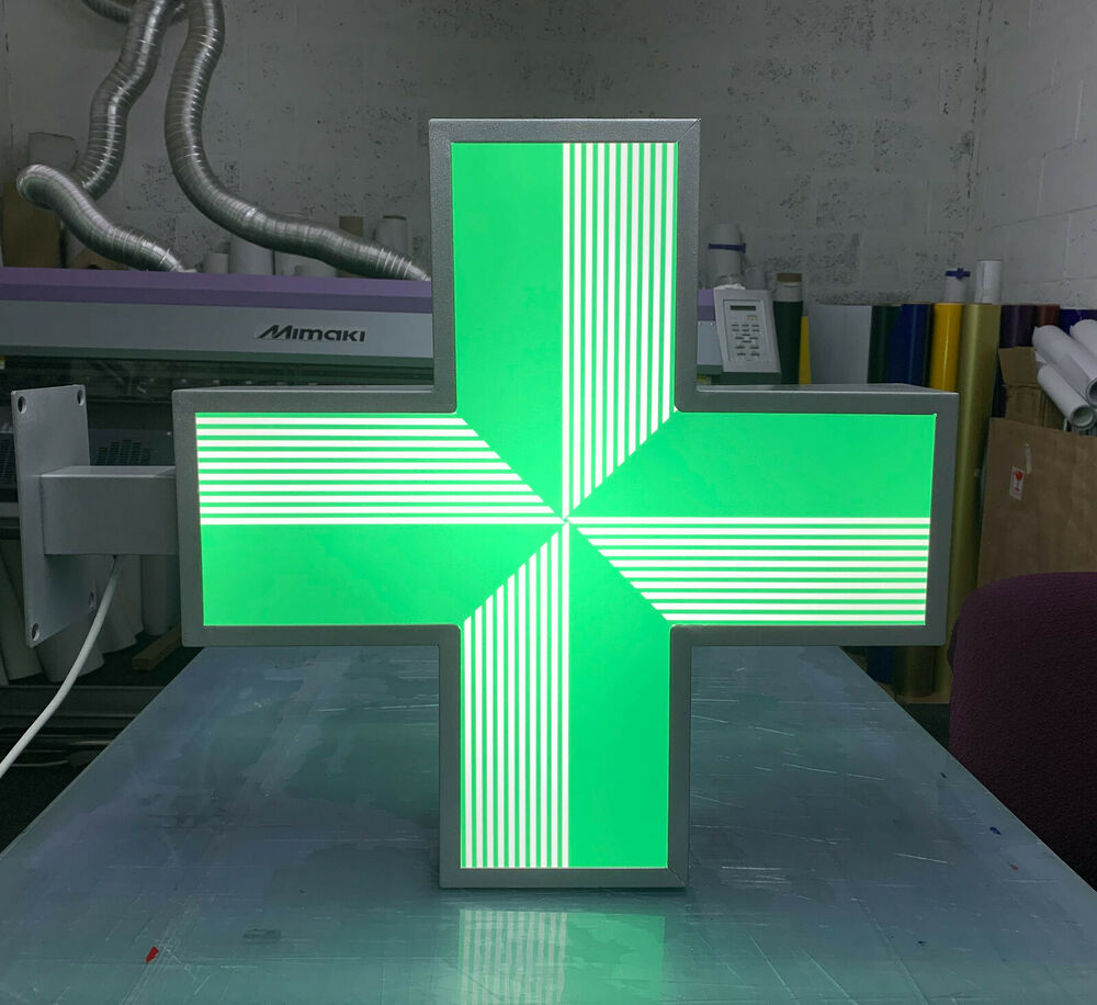 Outdoor Shop Sign Lights: LED Sign Pharmacy Shop Projecting Light Box Outdoor Green