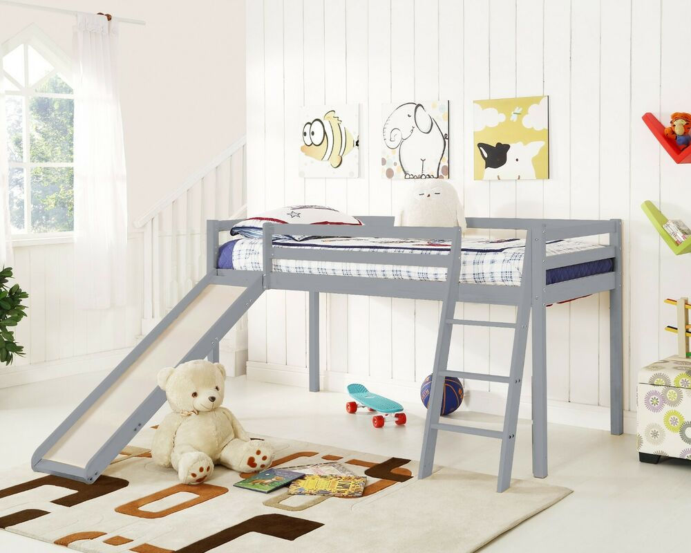 Kids Bunk Bed Mid Sleeper with Slide and Ladder Wooden ...
