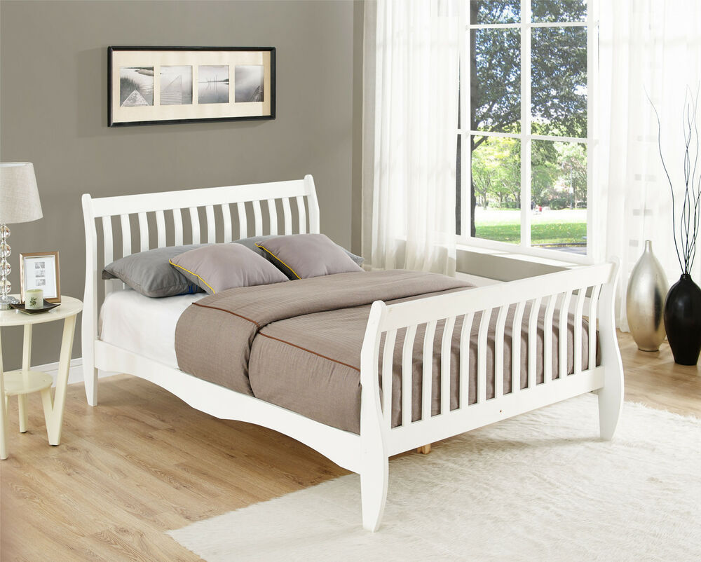 pine double sleigh bed frame white or natural 4ft6 size. Black Bedroom Furniture Sets. Home Design Ideas